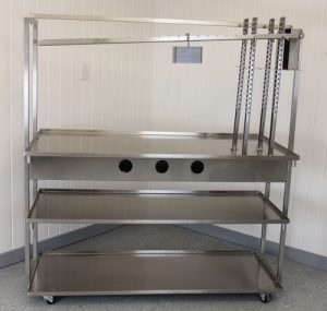 5 Foot Cheese Table with Dutch Lever Press Arms and Optional Height-Adjustable Middle Shelf